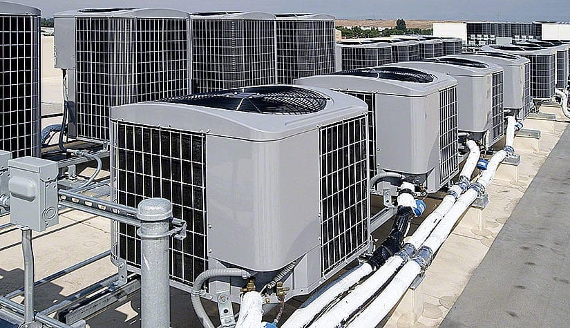 Compressors on top of apartment buildings